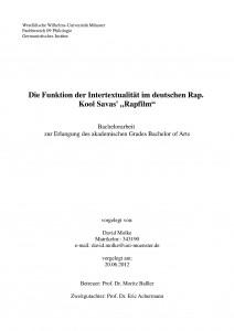 Die Funktion der Intertextualität im deutschen Rap. Kool Savas' Rapfilm. (Bachelorarbeit)